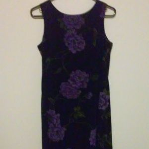 Black Floral Dress Purple S Casual Wear 100 Poly